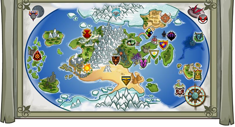 A Map of Neopia with the symbols of the major countries.